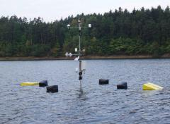 Meteorologic station placed on a water level in water tank
